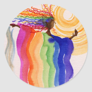 Metamorphosis Rainbow Woman Watercolor Painting Classic Round Sticker