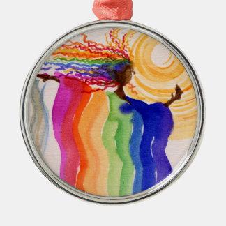 Metamorphosis Rainbow Woman Watercolor Painting Metal Ornament