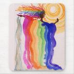 Metamorphosis Rainbow Woman Watercolor Painting Mouse Pad
