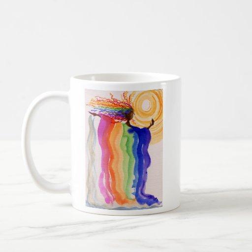 Metamorphosis Rainbow Woman Watercolor Painting Mugs
