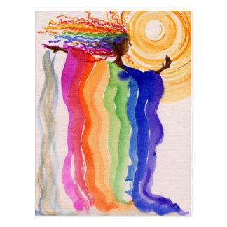 Metamorphosis Rainbow Woman Watercolor Painting Postcard