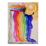 Metamorphosis Rainbow Woman Watercolor Painting Poster