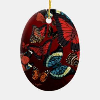 Metamorphosis Red Butterflies Ceramic Ornament