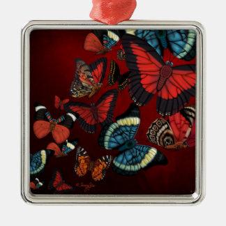Metamorphosis Red Butterflies Metal Ornament