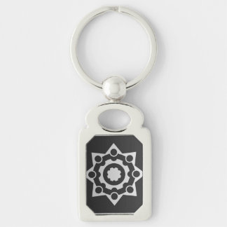 Metaphysical Silver-Colored Rectangular Metal Keychain