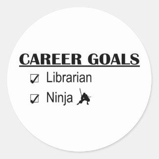 Metas de la carrera de Ninja - bibliotecario Pegatina Redonda