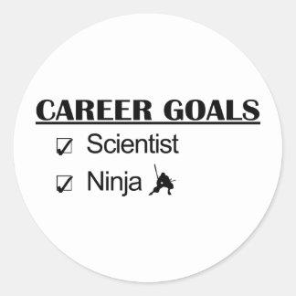 Metas de la carrera de Ninja - científico Etiquetas Redondas