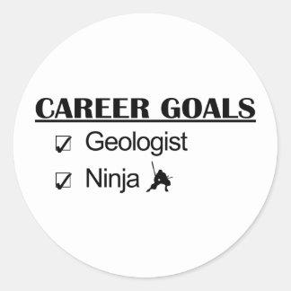 Metas de la carrera de Ninja - geólogo Pegatina Redonda