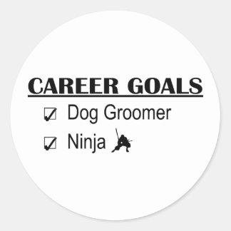 Metas de la carrera de Ninja - Groomer del perro Etiqueta Redonda