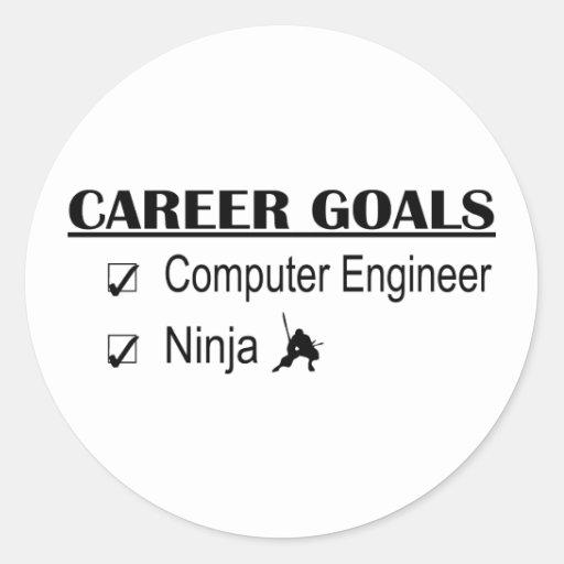 Metas de la carrera de Ninja - ingeniero Pegatina Redonda