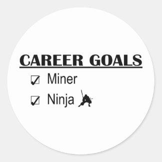 Metas de la carrera de Ninja - minero Etiqueta Redonda