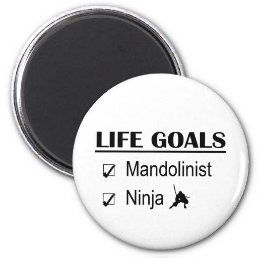 Metas de la vida de Mandolinist Ninja Imán Redondo 5 Cm