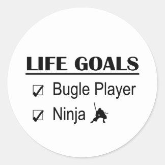 Metas de la vida de Ninja del jugador del bugle Pegatina Redonda
