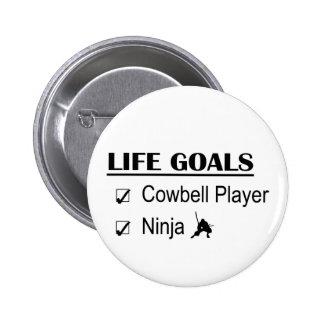 Metas de la vida de Ninja del jugador del cencerro Pin Redondo 5 Cm
