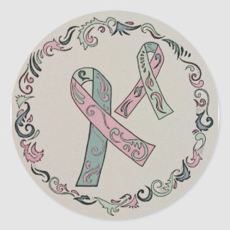 Metastatic Breast Cancer Ribbons Classic Round Sticker