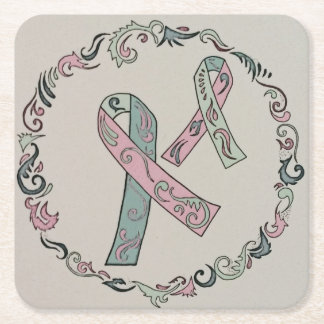 Metastatic Breast Cancer Ribbons Square Paper Coaster