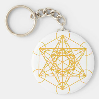 Metatron Cube Gold Basic Round Button Keychain