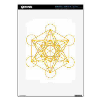 Metatron Cube Gold Decals For iPad 3