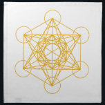 "Metatron Cube Gold Napkin<br><div class=""desc"">Our Creator had created this magnificent universe with such intense energy that falls into perfect order with love and vibrational frequency. Sacred Geometry symbols show how all things are connected. There are energy in symbols that God has put into and people put their own energy into other symbols as well....</div>"