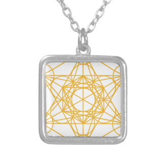Metatron Cube Gold Square Pendant Necklace
