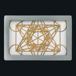 """Metatron Drop Shadow Rectangular Belt Buckle<br><div class=""""desc"""">Metatron is the supernatural that shows all things are connected. Our Creator had created this magnificent universe with such intense energy that falls into perfect order with love and vibrational frequency. Sacred Geometry symbols show how all things are connected. There are energy in symbols that God has put into and...</div>"""