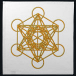 "Metatron Gold Glow Napkin<br><div class=""desc"">Metatron is the supernatural that shows all things are connected. Our Creator had created this magnificent universe with such intense energy that falls into perfect order with love and vibrational frequency. Sacred Geometry symbols show how all things are connected. There are energy in symbols that God has put into and...</div>"