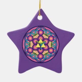 Metatron's Cube Merkaba on Flower of life Ceramic Ornament
