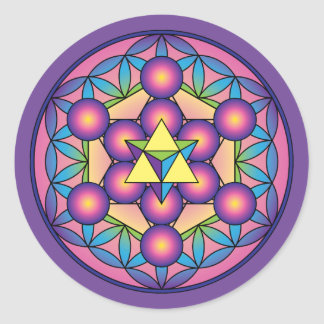 Metatron's Cube Merkaba on Flower of life Classic Round Sticker