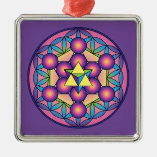 Metatron's Cube Merkaba on Flower of life Metal Ornament