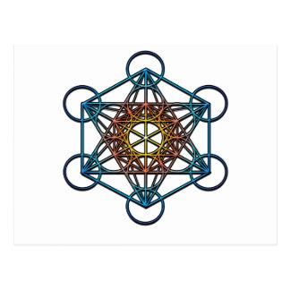 Metatron s Cube yellow orange blue gradient Symbol Post Cards