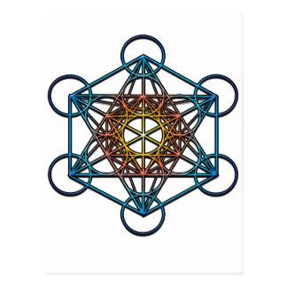 Metatron s Cube yellow orange blue gradient Symbol Postcard