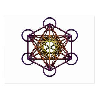 Metatron s Cube yellow purple gradient Symbol Post Cards