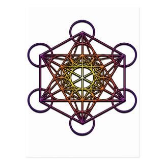 Metatron s Cube yellow purple gradient Symbol Postcard