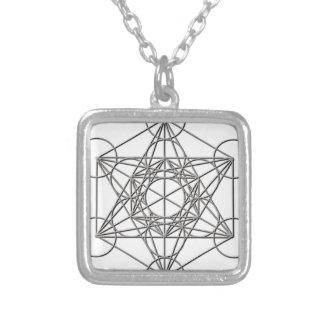 Metatron Silver Shadow Square Pendant Necklace