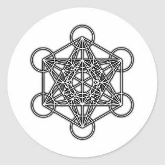 Metatron's Cube (Black) Classic Round Sticker