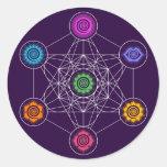 Metatrons Cube, Chakras, Cosmic Energy Centers Classic Round Sticker