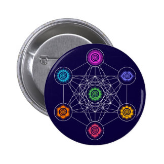 Metatrons Cube, Chakras, Cosmic Energy Centers Pinback Button