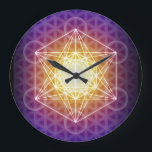 """Metatron&#39;s Cube/Flower of Life Clock<br><div class=""""desc"""">From Wikipedia: &quot;Metatron&#39;s Cube shares 2-D resonance with the Flower of Life. It is a sacred geometry figure. Its name makes reference to Metatron, a figure mentioned only in apocryphal texts including the Book of Enoch or Sefer Hekhalot and the Zohar.[citation needed] These texts rank Metatron second only to YHVH...</div>"""