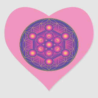 Metatron's Cube in Flower of life Heart Sticker