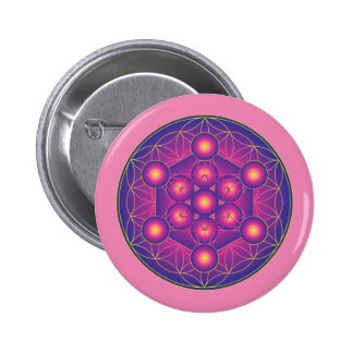 Metatron's Cube in Flower of life Pinback Button