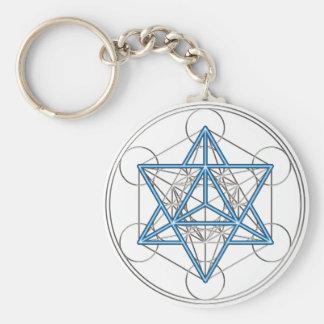 Metatrons cube - Merkaba - star tetrahedron Basic Round Button Keychain