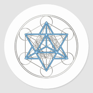 Metatrons cube - Merkaba - star tetrahedron Classic Round Sticker