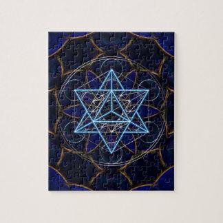Metatrons cube - Merkaba - star tetrahedron Jigsaw Puzzles