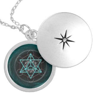 Metatrons cube - Merkaba - star tetrahedron Round Locket Necklace
