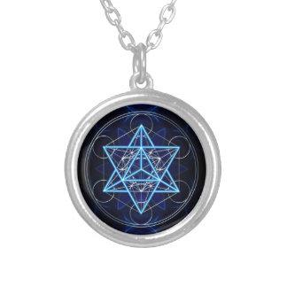 Metatrons cube - Merkaba - star tetrahedron Round Pendant Necklace