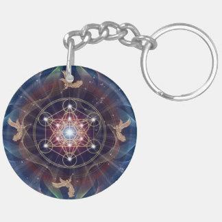 Metatron's Cube - Merkabah - Sacred Geometry Double-Sided Round Acrylic Keychain