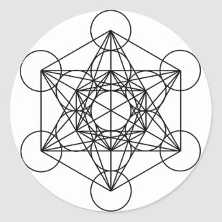 Metatron's Cube (White) Classic Round Sticker