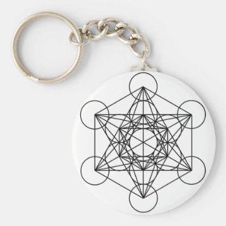 Metatron's Cube (White) Basic Round Button Keychain