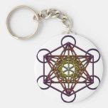Metatron's Cube (yellow purple gradient) Symbol Key Chain