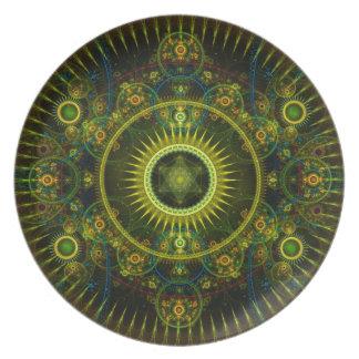 """Metatron's Magick Wheel"" - Fractal Art Melamine Plate"